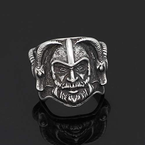 YABEME Viking Thor's Mjolnir Goat Head Stainless Steel Vintage Norse Odin Celtic Pagan Amulet Scandinavian Finger Jewelry with Valknut Rune Gift Bag,12