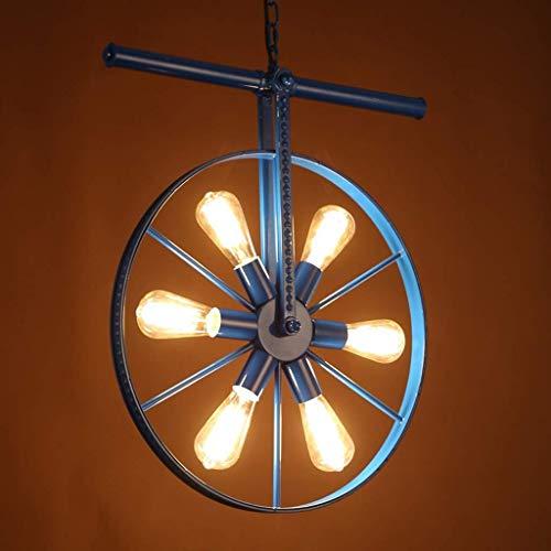 Lámpara ligera viento industrial araña retro, lámpara colgante de rueda creativa de metal, luz de techo redondo de arte nórdico, dormitorio moderno E14, decoración de iluminación, hierro forjado 50x65