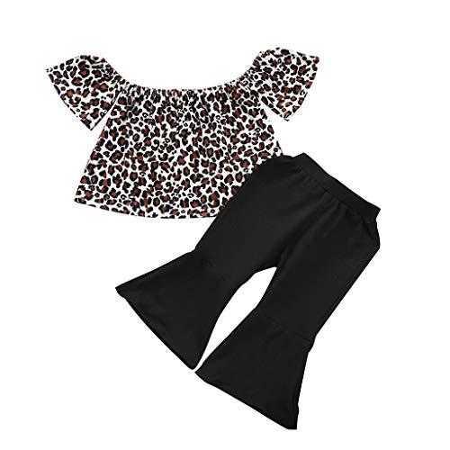 jerferr Neugeborene Baby Mädchen Schulterfrei Leopard Rüschen Tops Outfits Sommerkleidung
