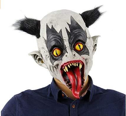 Ganeric - Mscara de ltex para Halloween, diseo de payaso con disfraz de pelo, mscara de Batman
