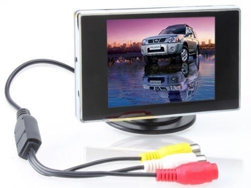 BW T03 TFT-LCD KFZ-Rückfahrbildschirm / Rückfahrkamera, drehbar, mit 2 AV-Eingängen, unterstützt eine Auflösung von 320*240, zur Verwendung mit KFZ-Rückfahrkameras, DVD-Spielern, Überwachungskamera, STB, Satellitenreceiver und anderem Video-Zubehör 3.5 inch(4:3) schwarz