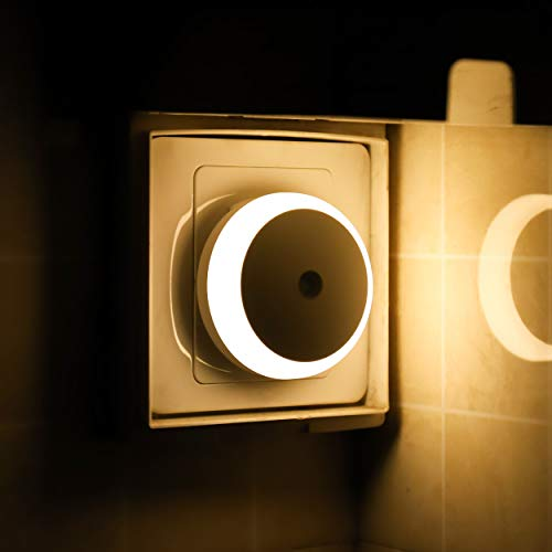 Nachtlicht Stecker, Steckdosenlicht mit Dämmerungssensor, Warmweiß, Automatisch ON OFF, Energiesparende LED, 2er Pack