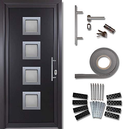 kuporta Kunststoff Haustür Rimini Türen 108 x 208 cm DIN links außen anthrazit/innen weiß mit Stoßgriff-Set Montageset Fugendichtband