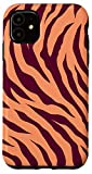 iPhone 11 Tiger Peach and Purple Jam Stripes Print Wild Animal Pattern Case