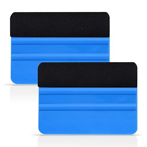 Ehdis® [2PCS Haute Qualité Felt Bord Raclette 4 Pouces pour la Voiture Vinyle Scraper Decal Applicateur Outil Edge Black Fabric Feutre - Bleu PP Scraper