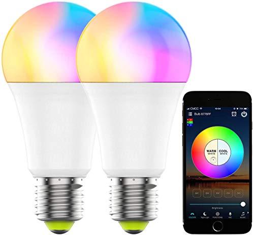 REPSN® E27 Glühbirne, Gosund Alexa Lampe Wlan Mehrfarbige Dimmbare Lampe Kompatibel mit Amazon Alexa Echo, Echo Dot Google Home Kein Hub Erforderlich Smart Birne Glühbirne (2-pack real)