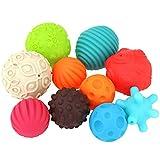 Doux sensorielles Ballons Bébé Catch main Super Durable 10 Pack sensorielles Balls, Massage Hand Ball bébé peut mordre la formation balle molle texturés Balles for bébés Jouets éducatifs pour les enfa