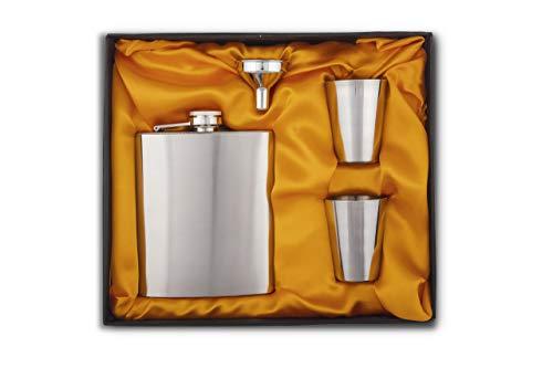 Celebr8 Easy Sip Stainless Steel Hip Flasks, Liquor or Wine Whiskey Alcohol Drinks Holder Pocket Bottle with Funnel and Two Shots Glasses Gift Set for Men - 7 Oz (210 ml)