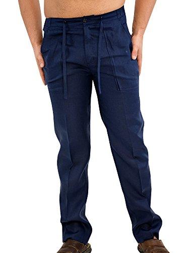 Heren linnen broek katoen broek broek broek mannen zomerbroek lang casual fit strandbroek elastische band yoga vrijetijdsbroek met tas licht ademend casual pants voor mannen