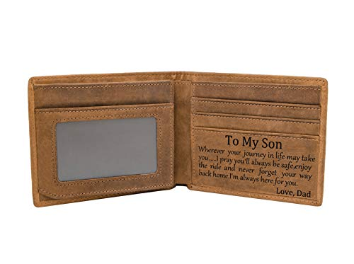 Mom Son Wallet - Engraved Leather Men Wallet-The Perfect Personalized Son Gift From Mom And Dad (Wallets-For Son From Dad)