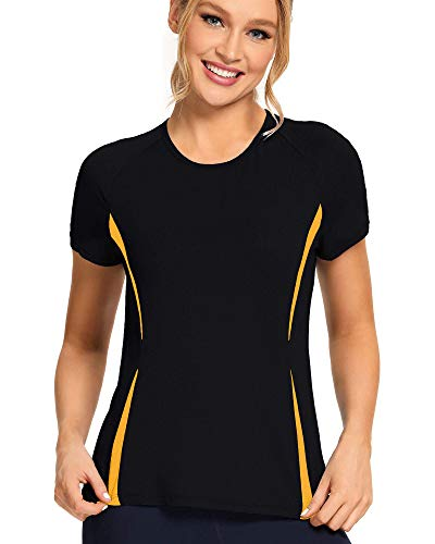 Workout Shirts for Women - Womens T Shirts - Womens Athletic Tops Black-Spectra Yellow