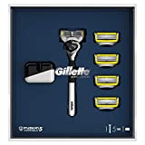 Gillette Fusion5 ProShield Set de regalo Maquinilla cromada, Edición Limitada, con 4 recambios y soporte