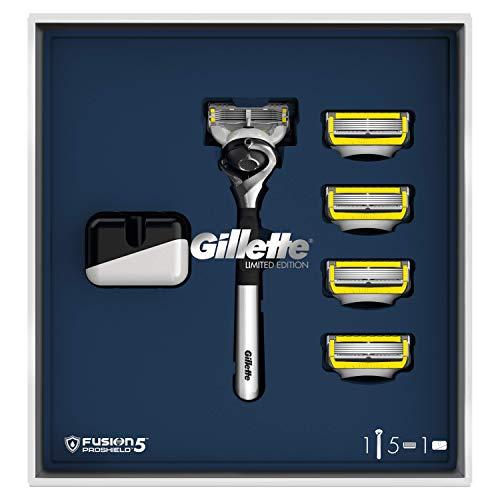 Gillette Fusion 5 ProShield Máquina de Afeitar Hombre + 4 Cuchillas de Recambio + Base Magnética,...