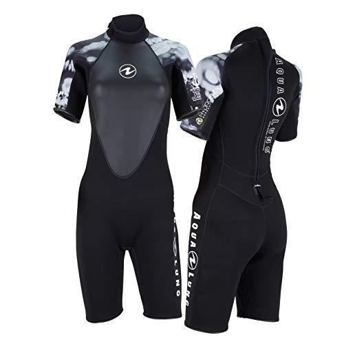 Aqua Lung Hydroflex - Pantalón corto para mujer (talla L), color blanco y negro