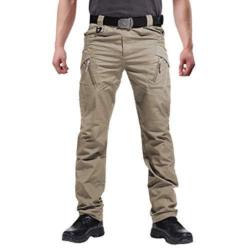 FEDTOSING Cargohose Herren Vintage Militär Tactical Hosen mit Stretch Arbeitshose Outdoor Viele Taschen Leichte Baumwolle(EUKhaki L)
