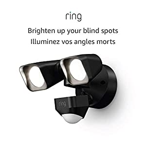 Ring Smart Lighting – Floodlight, Wired, Outdoor Motion-Sensor Security Light, Black (Ring Bridge required)