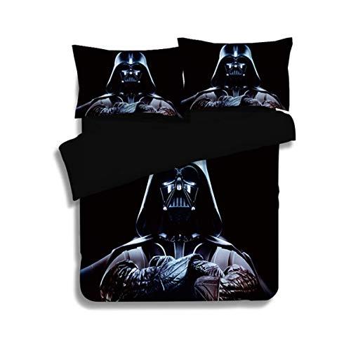 695 UNKEY - Juego de funda de edredón de 3 piezas con diseño de Star Wars con dos fundas de almohada, Darth Vader para niños y adultos (sin edredón)