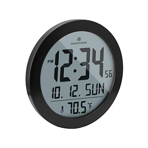 reloj de pared negro fabricante Marathon