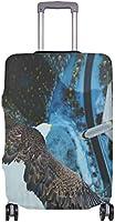 繊細な印刷でイーグル飛行機スーツケースプロテクター弾性旅行荷物カバー防雨手荷物カバー
