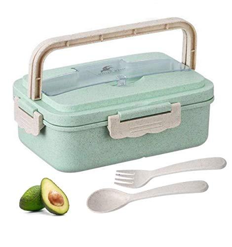 XianJia Fiambrera de Seguridad de Trigo Natural de 1000 ml (Tenedor y Cuchara) Caja de Bento con Compartimentos, Bento Box para Niños, Fiambreras Bento,Lunch Box (Verde)