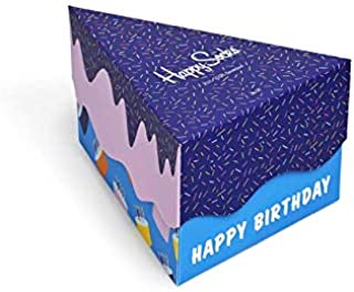 Happy Socks, Paquete De Regalo De Calcetines Pack 3 Feliz Cumpleaños Hombres, Azul/naranja/azul Marino