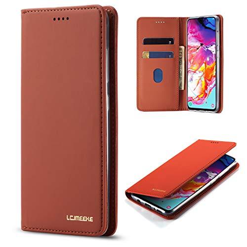 DEFBSC Funda para Samsung Galaxy A50, de piel tipo libro con tarjetero y cierre magnético, a prueba de golpes, para Samsung A50, color marrón