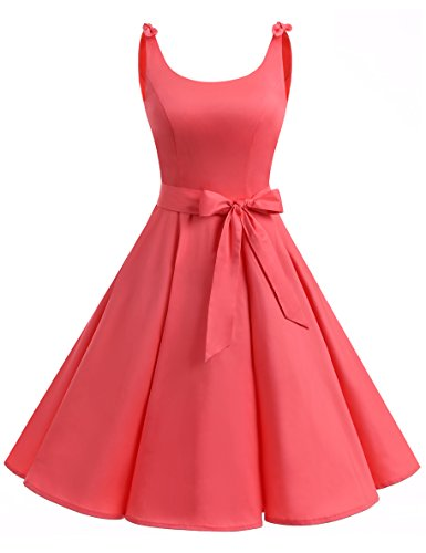 Bbonlinedress 1950er Vintage Polka Dots Pinup Retro Rockabilly Kleid Cocktailkleider Coral M