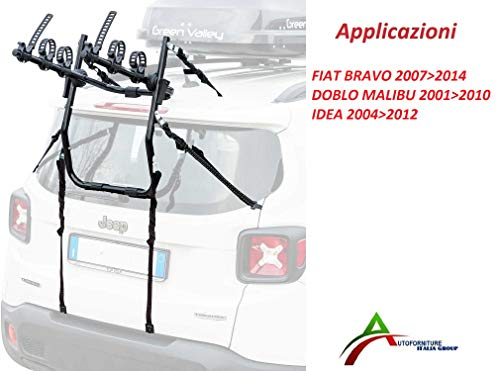 AUTOFORNITURE ITALIA Portabicicletas ensamblado y Listo para Usar (3 Bicicletas) para portón o Maletero Trasero para Coche específico para Bravo 2007 - Doblo Malibu 20012010 - Idea 20042012