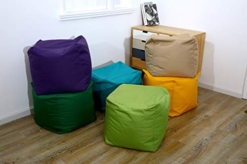 Voice 7 Waterproof Bean Bag Chair Footstool Cube 12 Colors - Indoor Outdoor Beanbag Pouffe Medium Size 40 x 40 x 40 cm (Dark Grey)