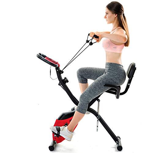 Daverose Fitnesstrainer Bici Fitness per la casa X-Bike Folding cyclette con traning computer e cinghie di espansione ZCD-N2