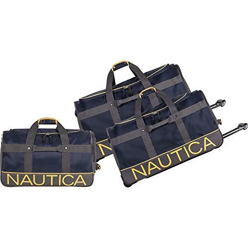 Nautica 3 Piece Duffle Set 1, Navy/lighthouse Yellow, One Size