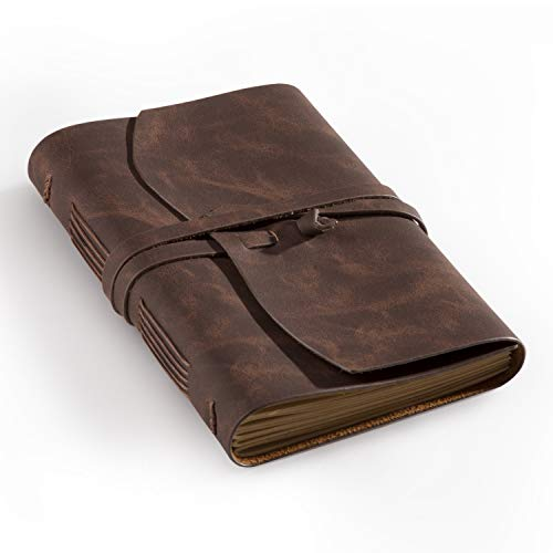 Bedsure Leather Journal Notebook(6x8) - Rustic Handmade Leather Bound Journals for Men and Women - Kraft Lined Paper 240 Pages, Leather Book Diary Notebook, Brown