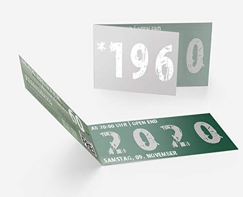 Runder Geburtstag Einladungskarten 60 Jahre Geburtstagseinladungen - Zeitsprung Einladung für runden Geburtstag 60er Feier Dunkelgrün-Silber (20)