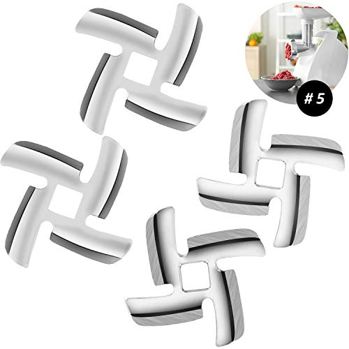 4 Pieces Meat Grinder Blade Food Grinding Blade Stainless Steel Knife Cutter Replacement for Size 5 Meat Grinder Stand Mixers Accessories