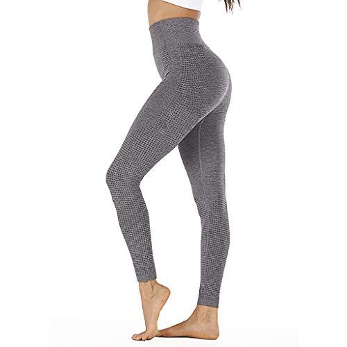 WOZOW Pantalon Femme Legging De Sport Fitness Longue Taille Haute pour Yoga avec des Poches Hanche Point sans Couture Vitesse Secs Remise en Forme(Gris Foncé,L)