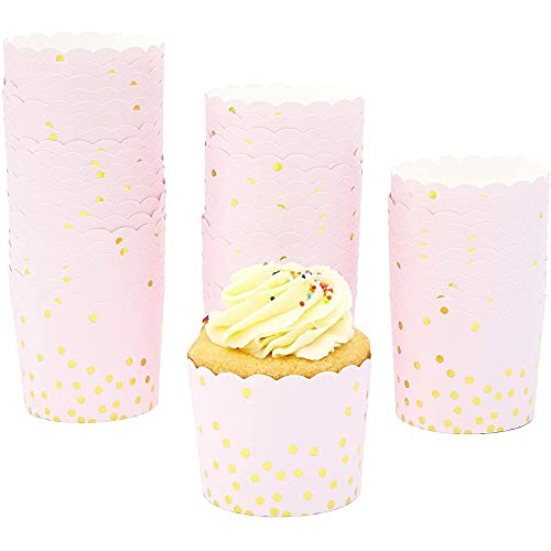 50-Pack Muffin Liners - Pink and Gold Foil Polka Dots Cupcake Wrappers Paper Baking Cups