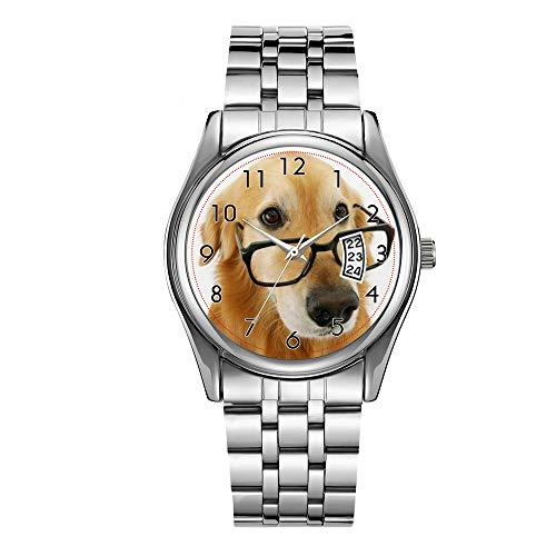 Reloj de lujo para hombre de 30 m impermeable fecha reloj masculino deportes relojes hombres cuarzo casual reloj de pulsera de Navidad perro con corbata y gafas sentado en la silla reloj