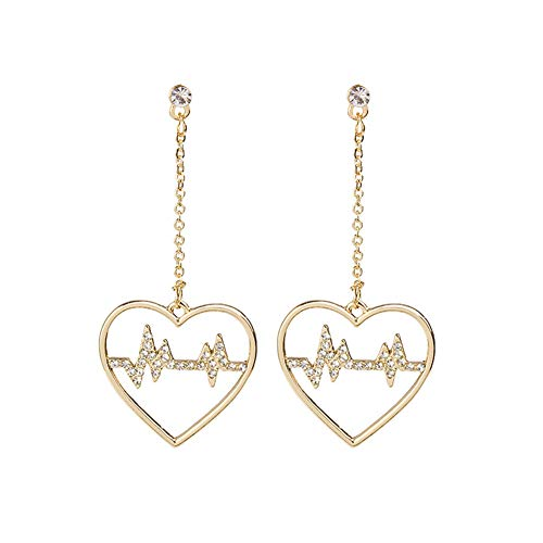 Cestbon 925 Sterling Silber Zirkonia Gold Herz Anhänger Lange Ohrringe,Gold Herzförmige Blitzform Hochzeit Ohrringe (Frauen Braut Ohrringe),Gold