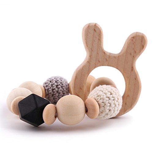 Best for baby Jouet de bébé Perles de Silicone Anneau Dentition Bois Bébé teether Hochet Montessori Animal Pendentif DIY Bracelet Bijoux Jouets sensoriels Cadeau (Lapin)