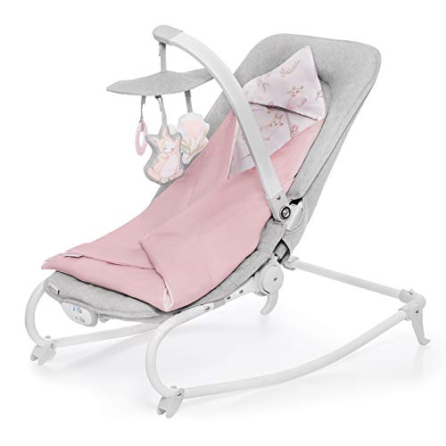 Kinderkraft Baby Bouncer FELIO 2020, Infant Rocker, Electric Swinger, Crib, Foldable, Lying Position, with Accessories, Removable Toy Bar, Vibration, 8 Melodies, for Newborn, Toddler, to 18 kg, Pink