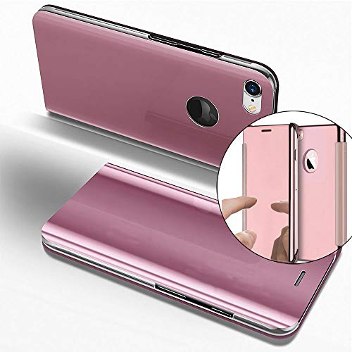 COTDINFOR iPhone 6S + Funda Espejo Ultra Slim Ligero Flip Funda Clear View Standing Cover Mirror PC + PU Cover Protectora Bumper Case para iPhone 6S Plus / 6 + Rose Gold Mirror PU MX.