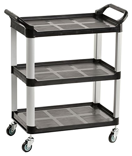 Displays2go Heavy Duty Bus Cart with Open Shelving, Easy-Grip Side Handles and Swivel Wheels, Black