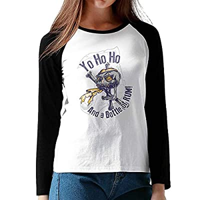 Onesunc FashionWomen Print Yo Ho Ho and A Bottle of Run Cotton Graphic Long Sleeve Baseball T-Shirts XXL Black from Onesunc