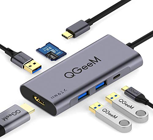 QGeeM USB C Hub Multiport Adapter, 7 in 1 USB C auf HDMI 4K Adapter, 100W Stromversorgung, 3 USB 3.0-Anschlüsse, SD/TF-Kartenleser kompatibel mit MacBook Pro 13/15 (Thunderbolt 3), mehr Typ-C-Geräte