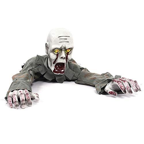 AUZZO HOME Zombi gateador para Decoraciones de Halloween Zombi Sangriento con Movimiento eléctrico con Voz e iluminación Ojos Accesorios de diseño de la casa embrujada de Terror,B