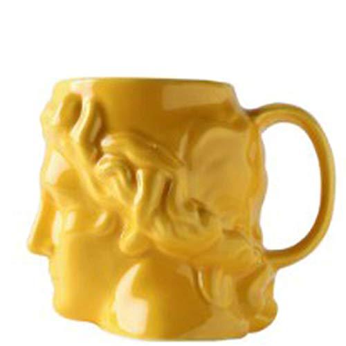 Copa de Leche Cerámica Creativa Taza de café España Antigua Grecia Apolo Cabeza de la Escultura Romana Bei Bei Taza,Amarillo