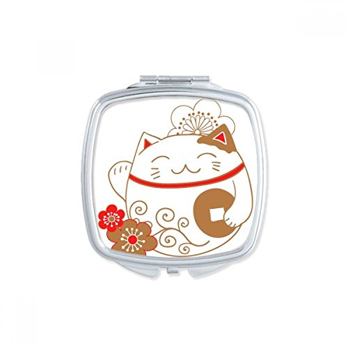DIYthinker Fat Cat Chanceux Fortune Flower Copper Japon Culture carrée Maquillage Compact Miroir de Poche Miroirs Mignon Petit Cadeau Portable à la mai Multicolore