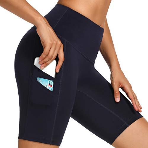 WOWENY Yoga-Shorts für Frauen, hohe Taille, Bauch, Training, Yoga, Laufen, Shorts, 20,3 cm Hose mit Seitentaschen Gr. L, Marineblau (Doppeltasche)