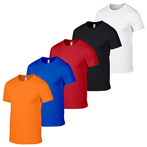 GILDAN 5 Softstyle Mens T Shirt Workwear all'ingrosso T-shirt e colori Pack 5 Arancione, rosso, nero, bianco. XL