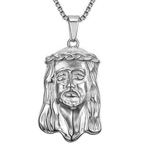 BOBIJOO JEWELRY - - Anhänger-Halskette Haupt Jesus Christus Stahl 316L Zigeuner Reisender + Kette 60cm
